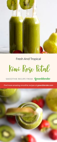 Kiwi Rose Petal on Green Blender Yummy Smoothie Recipes, Healthy Smoothies, Green Smoothies, Fat Burning Smoothies, Weight Loss Smoothies, Strawberry Smoothie, Rose Petals, Kiwi, Food And Drink