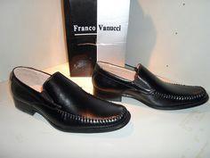 FRANCO VANUCCI MEN'S DRIVER SHOES IN BLACK S/6601 Size 7 $80 Value