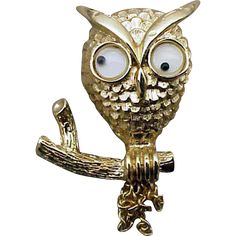 Googly Eye Halloween Owl Brooch Moving Chain Tail Feathers  found at www.rubylane.com @rubylanecom