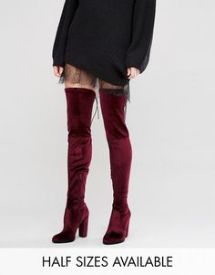 93860c6a3 Collective Red Velvet Boots, Red Boots, Asos Boots, Red High Heel Boots,