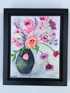 Acrylic Canvas in Black Floater Frame Floral Paintings, Acrylic Canvas, Still Life, Sunday, Etsy Shop, Abstract, Frame, Art, Summary
