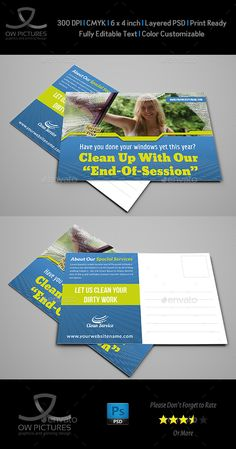 Cleaning Services Postcard Template Vol.2 — Photoshop PSD #advertisements #leaflet • Download ➝ https://graphicriver.net/item/cleaning-services-postcard-template-vol2/18842839?ref=pxcr