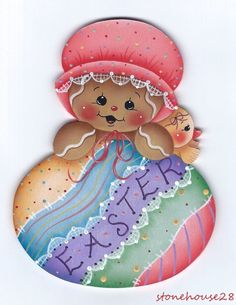 HP GINGERBREAD Girl with Easter Egg FRIDGE MAGNET #Handpainted