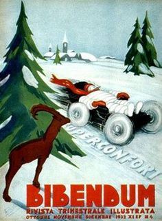 VintageArte ♥- Michelin Bibendum Snow Tire Poster : Posters and Framed Art Prints Available