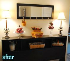 A repurposed headboard makes a great looking hallway table!