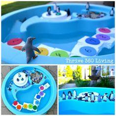 Thrive 360 Living: Penguin Small World Play Sensory Bins, Sensory Activities, Winter Activities, Toddler Activities, Sensory Table, Sensory Play, Sensory Therapy, Preschool Winter, Beach Activities