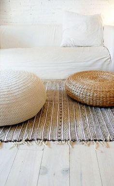 Woven and rattan poufs, tuffets, pillows.