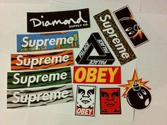 Supreme, Obey, Diamond Supply, Palace, The Hundreds - Supreme Sticker Pack - 12 x Stickers - FREE SHIPPING WORLDWIDE