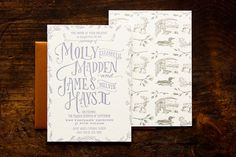 Oh So Beautiful Paper: James + Molly's Cozy Woodland Toile Wedding Invitations