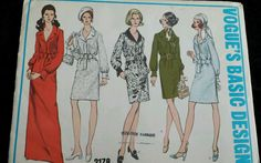Vintage 1960s Sewing Pattern Vogue 2178 One Piece Sleeved Dress UNCUT S10 B32.5
