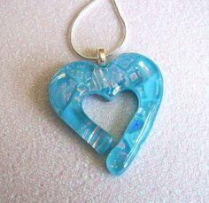 Fused Glass Dichroic Heart Pendant (Aqua Cutout)