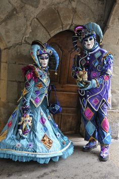 Jesters in Blue and Purple at Carnival of Venice 2013