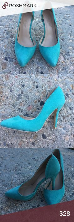 Teal/turquoise pumps! Size 6 women's. Been worn twice. I just don't have any clothes to match them, but they are sooo cute. Suede material on the outside. Cream color on the inside & bottoms. Shoes Heels