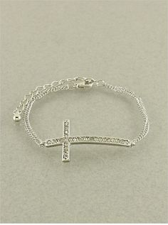 Genuine Austrian Crystal Silver Cross Bracelet from P.S. I Love You More. Shop online at: https://psiloveyoumore.storenvy.com