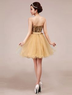 A-line Sweetheart Short/Mini Gold Tulle Prom/Cocktail Dress PD211