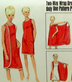 Vintage 60s Butterick 1 Piece 2-Way Wrap Around Beatch Shift Dress Pattern 12-14