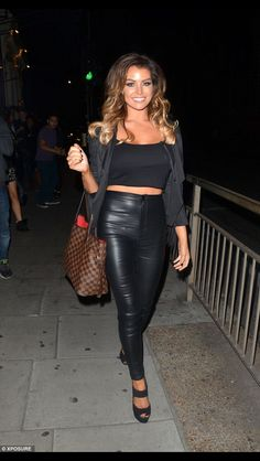 Ferne McCann goes demure in white dress during Essex night out Leather Jeans, Black Faux Leather, Leather Skirt, Chloe Sims, Louise Thompson, Jessica Wright, Leder Outfits, Celebrity Feet, Leather Fashion