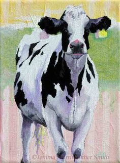 ACEO Cow Print of Cow Painting - Collectable Cow Art with Pastel Stripes - by Jemmas Gems