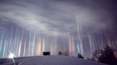 Light Pillars In Northern Ontario