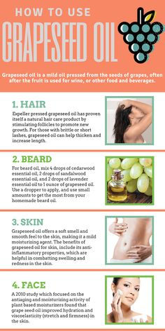 skin Grape Seed Oil Benefits: 11 Reasons You Want to Use it on Skin, Hair, & Cooking Learn how grapeseed oil can be used for both cooking and health benefits Oil Benefits, Health Benefits, Health Tips, Benefits Of Grapeseed Oil, Grapeseed Oil Uses, Facial Benefits, Natural Hair Care, Natural Cures, Oils For Skin