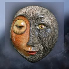 """Day and Night Collide"" -  Porcelain moonface -  details at:  http://www.etsy.com/shop/unmasked"