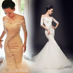 Stunning Off-The-Shoulder Half Sleeves Appliques Beadings Wedding Dress : Tidebuy.com