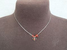 Heart with Red Stones Silver Tone Necklace with Beads and Pendant Vintage Jewelry, Free Shipping and Gift Box by GiftShopVintage on Etsy