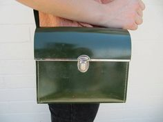 Vintage Green Hard Sided Purse/Case