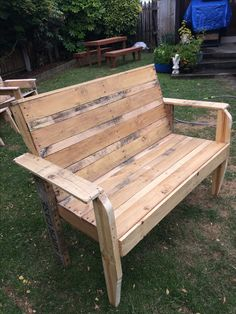 Made for a builder friend of mine out of pallet timber. This Bench seat is very strong