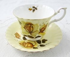 Royal Albert Yellow Tea Cup and Saucer with Yellow Rose, Vintage Bone China