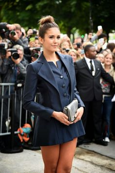 Nina Dobrev in a tuxedo inspired dress at the Chanel Fall 2014 Couture Show in Paris