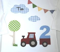 Langarmshirts - Geburtstagsshirt-Mein Traktor - http://de.dawanda.com/product/77714147-geburtstagsshirt-mein-traktor