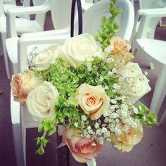 Blush roses, green hydrangeas, bells of Ireland and baby breath - MullenHeadWedding