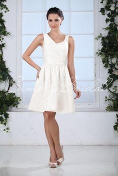 Wedding Dress by SimplyBridal. Mandy. This flirty satin ball gown dress is a lot of fun. The asymmetrical neckline is draped in a very chic and modern style that wraps around and helps define the waist. The full skirt adds a bit of drama and the overall silhouette is universally flattering on. USD $99.99