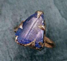 Raw Tanzanite Crystal Rose Gold Ring Rough Uncut Gemstone tanzanite  recycled 14k stacking cocktail statement byAngeline