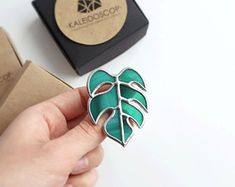 Stained glass brooch Monstera. Jewelery. Bright brooches.