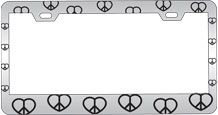 Customized Chrome Plated Metal License Plate Frame with Peace Hearts Pattern Design and Top Holes