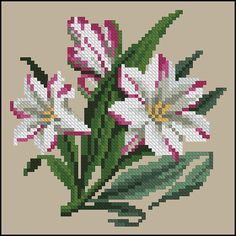 """""""Bundles"""" of lilies or lily sprays of 123 Cross Stitch, Cross Stitch Fruit, Cross Stitch Borders, Cross Stitch Flowers, Modern Cross Stitch, Cross Stitch Designs, Cross Stitch Embroidery, Cross Stitch Patterns, Minecraft Pattern"""