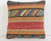 "16""Turkish cushion throw pillow kilim pillow decorative throw decorative pillow outdoor floor sham bohemian decor boho ethnic tribal accents"