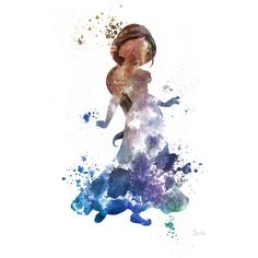 Princess Jasmine, Aladdin ART PRINT illustration, Disney, Mixed Media,... ($12) ❤ liked on Polyvore featuring disney, fillers and pictures