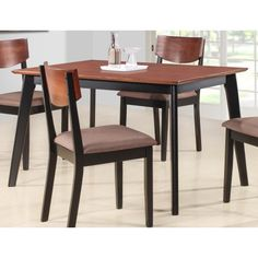 Casey Walnut & Black Wood Rectangle Kitchen Dinette Dining Table Image 1 of 3