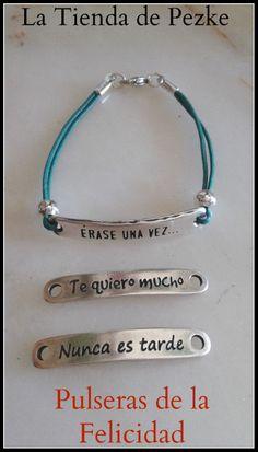 Pulsera placa con mensaje Zamak. Message bracelet. www.facebook.com/latiendadepezke www.latiendadepezke.blogspot.com.es
