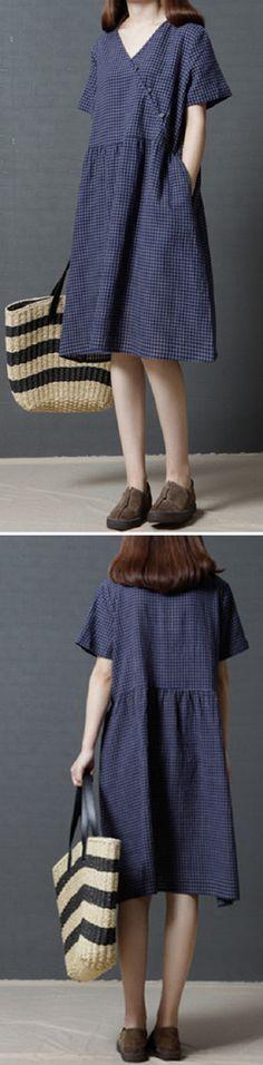 US$ 26.02 Vintage Plaid Cross Wrap Loose Short Sleeve V-neck Dress For Women