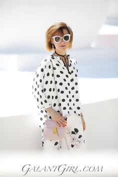summer street styles to try, chloe drew bag outfits, polka dot blouse outfit,