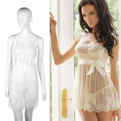 a781677e6d94fd Women s Sexy White Lace Lingerie Babydoll + G-String