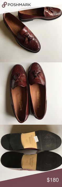 Russell & Bromley loafers Direct from London. Lovely I Italian leather sassy tassel loafers beautiful tooling on toes. Euro size 37 1/2. Worn twice.  These are lovely shoes. Russell & Bromley Shoes Flats & Loafers