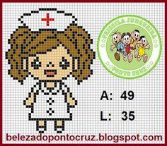 Priscila Junqueira Ponto Cruz: Profissões Mini Cross Stitch, Cross Stitch Cards, Cross Stitching, Plastic Canvas Crafts, Plastic Canvas Patterns, Hama Beads Patterns, Beading Patterns, Crochet Cross, Knitting Charts