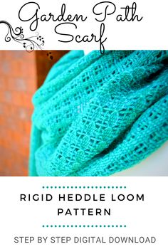Best selling Garden Path Scarf for rigid heddle loom weavers! Available as a digital download PDF! Weaving Art, Lace Patterns, Lace Knitting, Garden Paths, Loom, Sewing Crafts, Pdf, Digital, Crochet