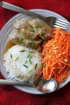 Baked Pork Tenderloins with Gravy, Coconut Rice, and Carrot Som Tam