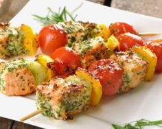 Salmon skewers with vegetables – One of the most popular recipes with us >> – … - Lachs Rezepte Kebab Recipes, Salmon Recipes, Beef Recipes, Healthy Recipes, Shrimp Recipes, Snacks Recipes, Protein Recipes, Protein Snacks, Veggie Recipes